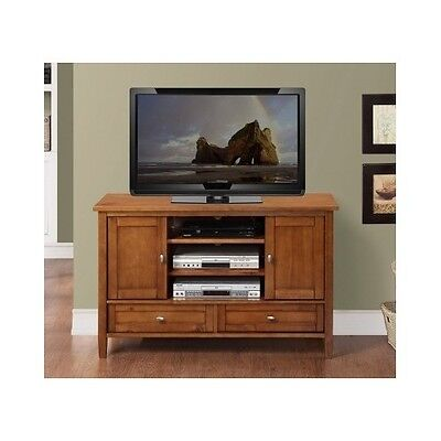 TV Stand Entertainment Center Solid Wood Storage Console Media Cabinet 55