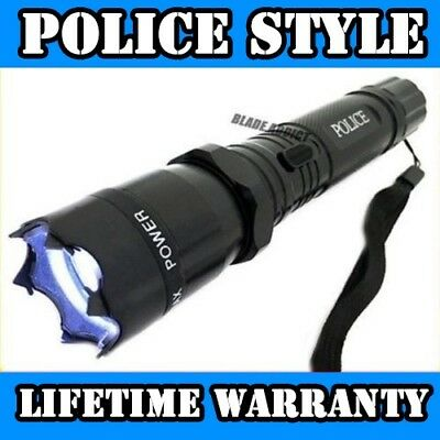 Metal POLICE Stun Gun 499 MV Tactical Rechargeable LED Flashlight + Case NEW