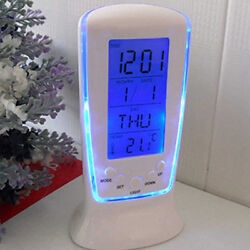 LED Digital Alarm Clock with Blue Backlight Exquisite Calendar Thermometer