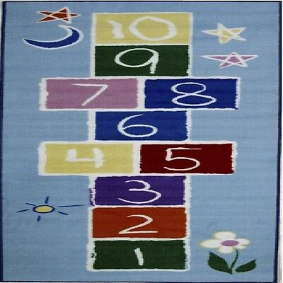 (Rugs Area Rugs 100% Nylon Carpet Fun Time Primary Hopscotch 2 Sizes Multi-Color)