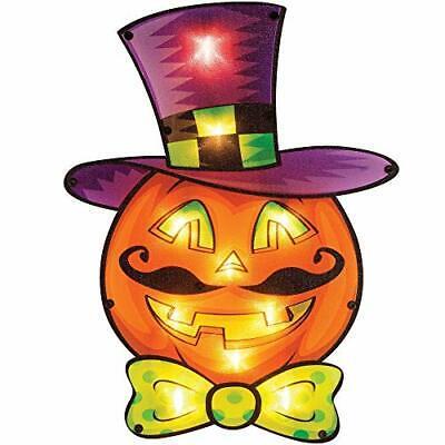 """Brwoynn 16"""" Halloween Lighted Pumpkin Window Decoration Halloween Pumpkin Sig..."""