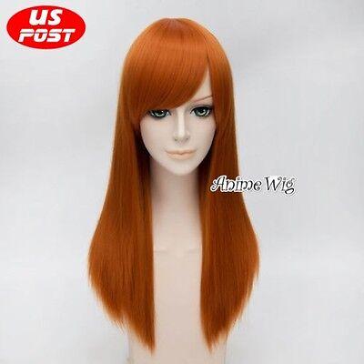 Kim Possible Orange Straight Long Basic Hair Halloween Anime Cosplay Wig 55CM