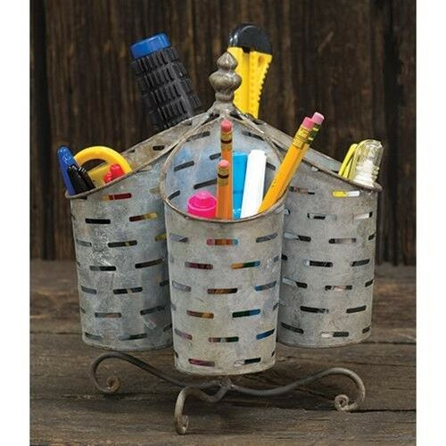 Utensil Holder Organizer Basket Spins French Country Farmhou