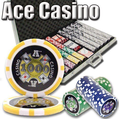 1,000ct. Ace Casino 14g Poker Chip Set in Aluminum Metal Carry Case