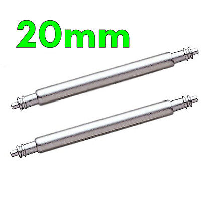 2 x Stainless Steel Watch Strap Spring Pins Bars 20mm