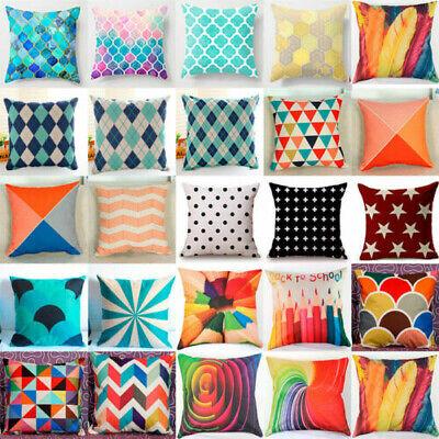 Geometric Vintage Flower Cotton Linen Throw Pillow Case Cushion Cover Home Decor