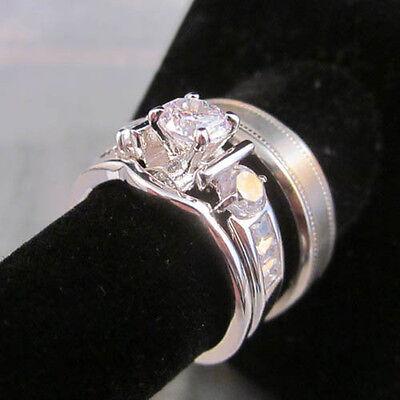 - 3 Ring Set HIS Titanium Multigrain Satin 7mm & Modern Designer Wedding Band SET