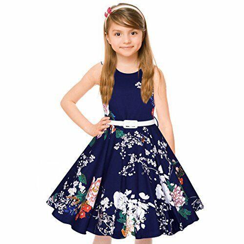 HBB MAGIC Girls 50s Vintage Navy Blue Audrey Swing Retro Sleeveless Dress Clothing, Shoes & Accessories