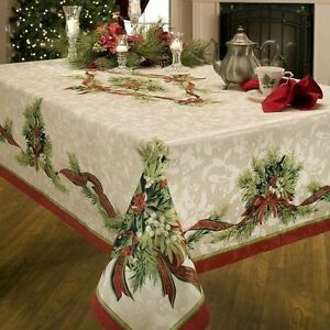 Benson Mills Christmas Ribbons Engineered Printed Fabric Tablecloth, 52-Inch-by-