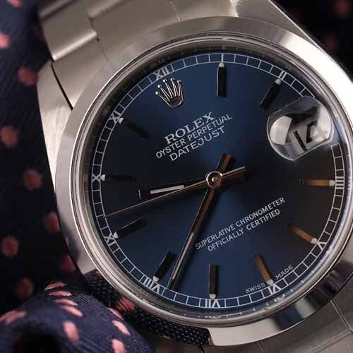 Rolex 36mm Navy Blue Dial Smooth Bezel Stainless Steel Oyster Men