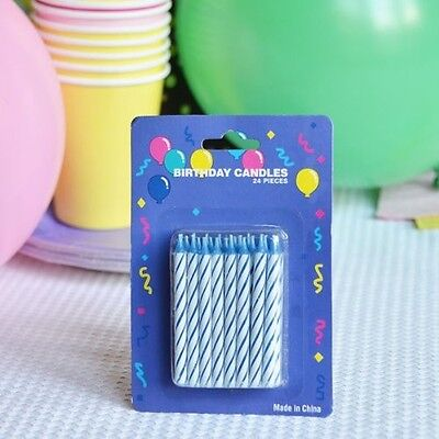 White Striped Cake Candles (48 Blue Candy Striped Birthday Candles 2