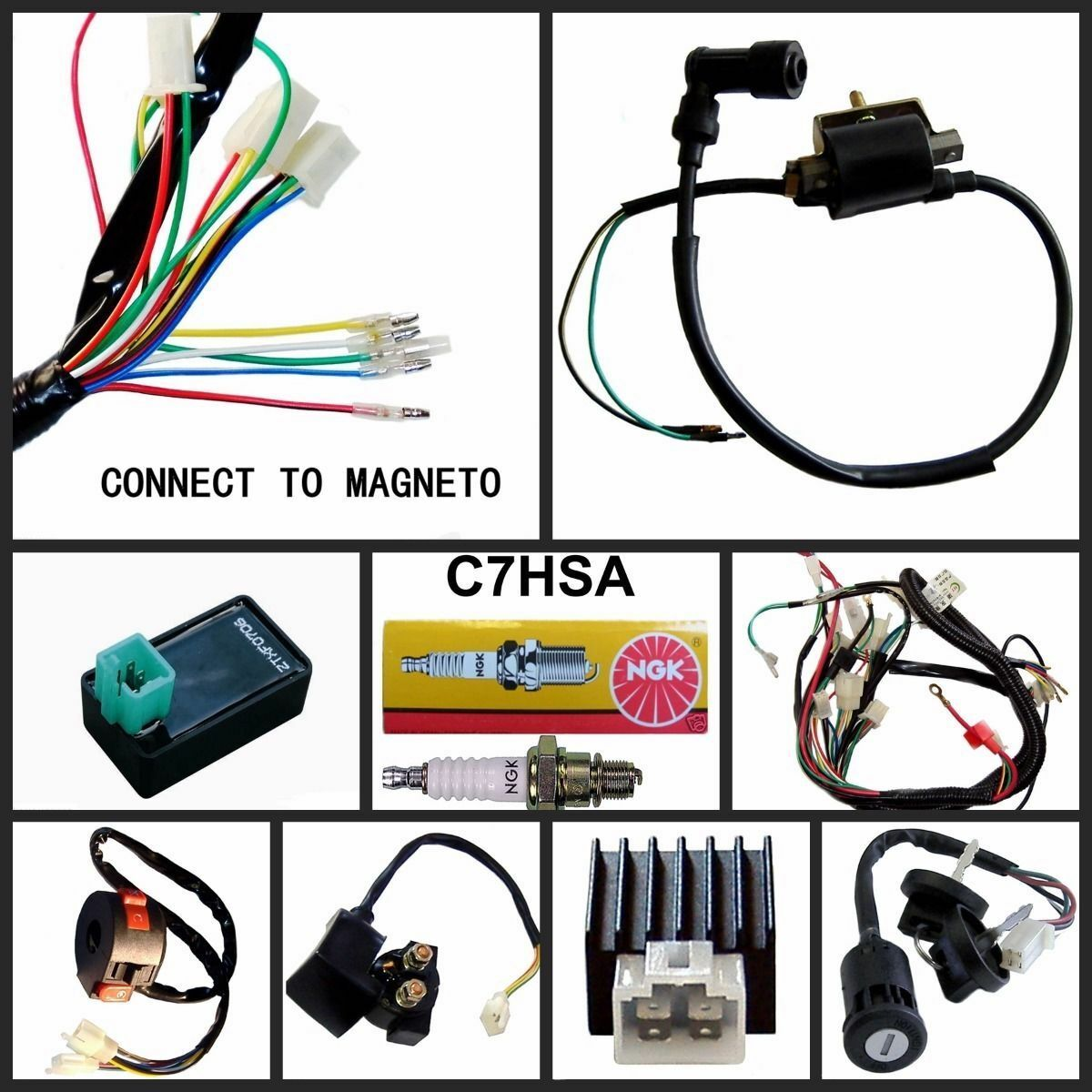 FULL ELECTRICS WIRING HARNESS COIL CDI 110CC 125CC GO KART ATV QUAD BIKE  BUGGY