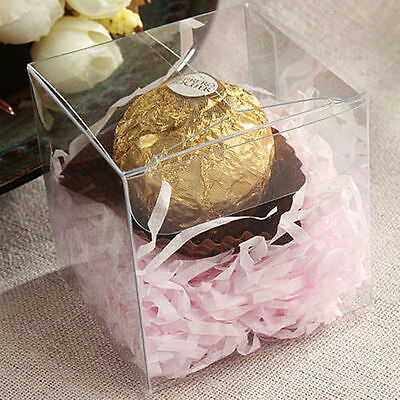 Lot of 25/50/100 pcs Clear Candy Boxes PVC Anti Scratch Wedding Party Favor Gift