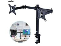 "Dual Monitor Mount Double Twin Arm Desk Stand TV LCD LED 10-30"" Screen Tilt VESA"