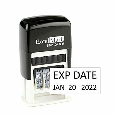 New Excelmark Exp Date Self Inking Stamp S161 Compact Size Black Ink