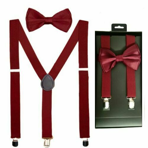 Burgundy Quality Suspenders And Bow Tie Matching Boxed Gift Set Tuxedo Wedding