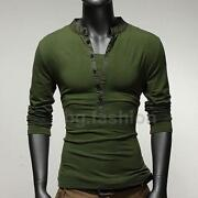 Mens Long Sleeve T Shirt V Neck