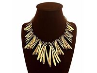 Elegant Fashion Chain Bib Necklace High-End 18K Gold Plated