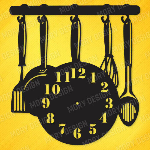 Kitchen Clock DXF CDR AI PDF EPS SVG Files For CNC Plasma Router Laser Cut Ready 1