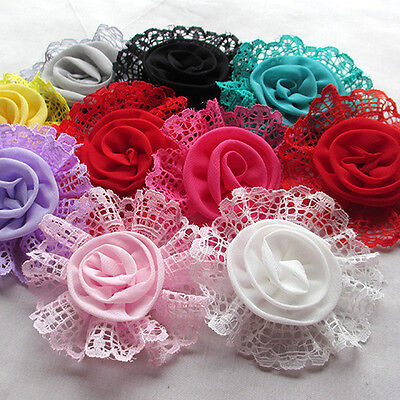 20PCS Large Trim Chiffon Ribbon Bows Flowers Appliques Wedding 85MM A0420 - Large Ribbon Bows