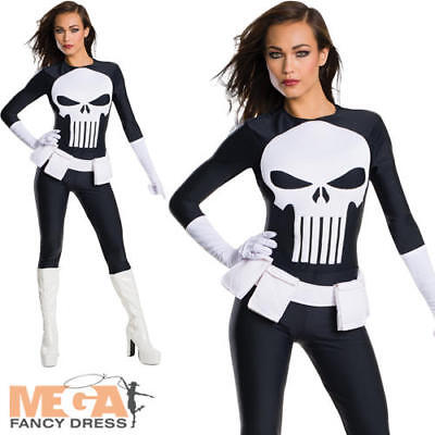 Punisher Marvel Ladies Superhero Fancy Dress Adults Womens Halloween Costume New (Womens Punisher Costume)