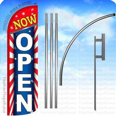 Now Open - Windless Swooper Feather Flag 15 Kit Banner Sign - Starburst Rq