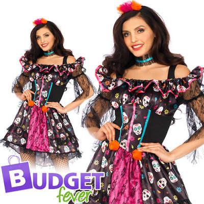 Sugar Skull Ladies Fancy Dress Leg Avenue Womens Adults Day Of The Dead Costume