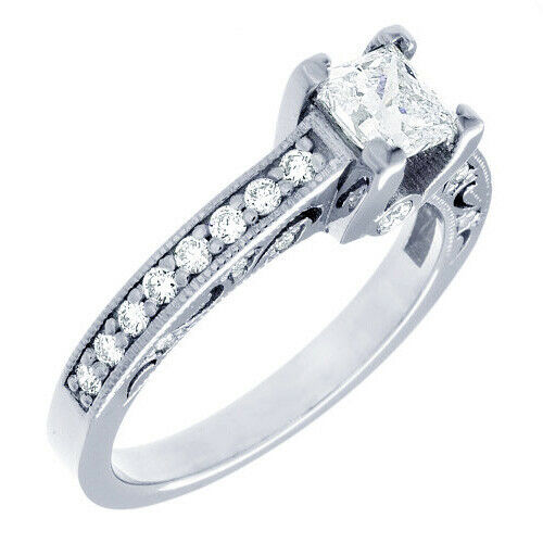 GIA Certified Diamond Engagement Ring 1.52 Ct Princess & Round 18k White Gold 1