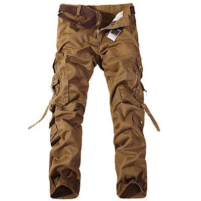 Hot Men's Casual Military Army Cargo Combat Work Pants Zipper Camo Trousers