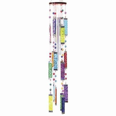 Glass Wind Chimes 20 inch Rainbow Multi Color Bars with Metal Chimes FREE SHIP