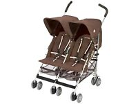 Maclaren Twin Triumph double pushchair with reclining seats and rain cover
