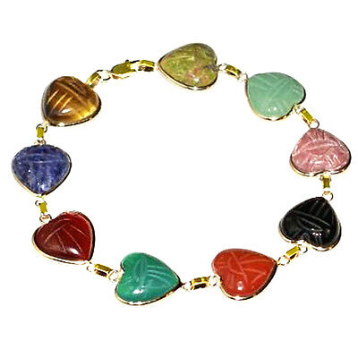 "14K Yellow Gold Heart Shaped Scarab Bracelet 7 1/4"""