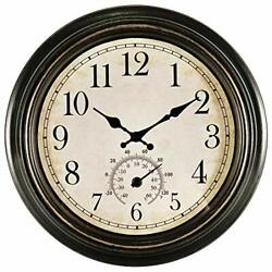 14 Inch Large Wall Clock,Vintage Non-Ticking Clock with Bronze-black