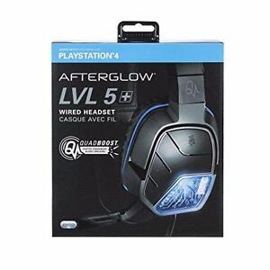 PDP Afterglow LVL 5 Plus Over-Ear Noise Cancelling Headset for PS4 - Black/Blue