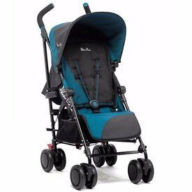 SILVER CROSS Pop Pushchair Stroller in Jade Blue & Black