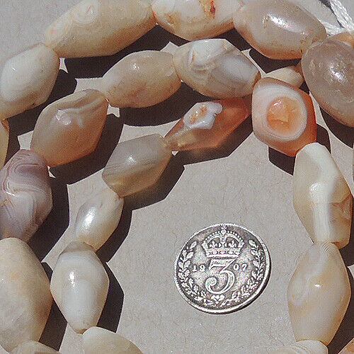 a 26 inch 66 cm strand of ancient agate bicone stone african beads mali #4142