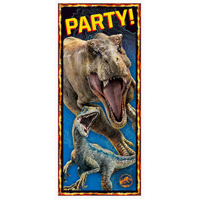 JURASSIC WORLD Fallen Kingdom PLASTIC DOOR POSTER ~ Birthday Party Supplies Blue](Jurassic Party)