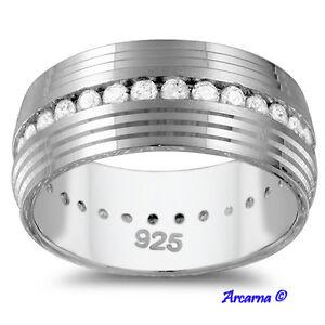 Anello-Mod-Fede-Nuziale-Comfort-Argento-Sterling-Diamanti-0-8Ct-8mm-Nuovo