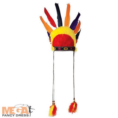 Native Indian Feather Headress Adults Fancy Dress Western Mens Costume Hat