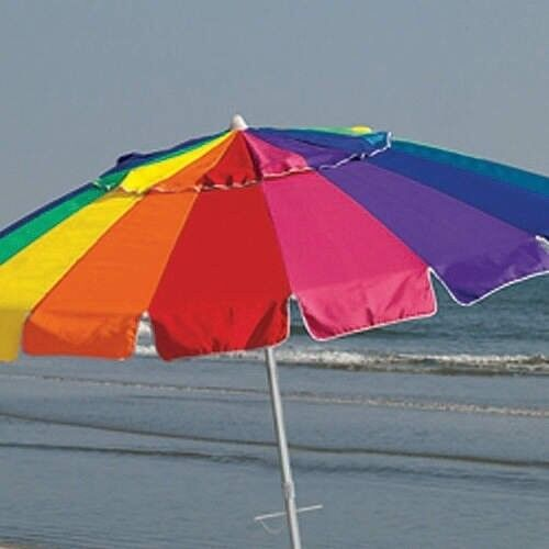 Beach Umbrella includes Sand Anchor and Carry Bag - 8 Foot Giant Rainbow USED