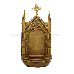 LUXURY HOLY WATER FONT AND SHRINE DISPLAY FOR DIVINITY FIGURINE CATHOLIC
