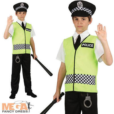 Policeman + Hat Boys Fancy Dress Police Cop Uniform Kids Childs Costume Outfit