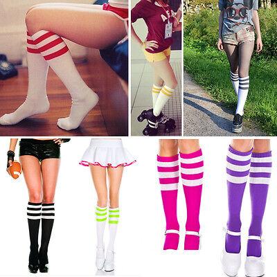 Bright Opaque Striped Knee High Cute School Girl Halloween Costume Tube Socks OS