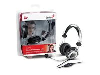 Genius HS-04SU Stereo Headset with Noise-Cancelling Microphone For VoIP Chatting Silver/Grey