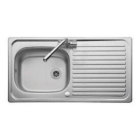 Linear stainless steel sink, waste kit PLUS tap