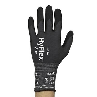 3 pair Ansell HyFlex 11-840 Foam Nitrile Gloves Size 9