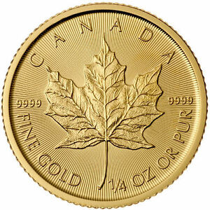 1/4 oz FE Pièce d'Or Gold Maple Leaf Random Years Coin Or 9999