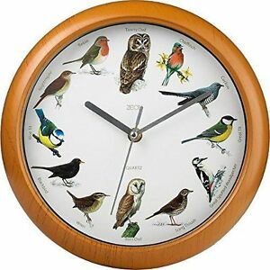 Singing Birds Wall Clock 12 Bird Sounds Every Hour Sleep Mode Battery Operated