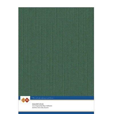 (EUR 4,81/m²) Leinenkarton 10xA4-Bogen weihnachtsgrün 23