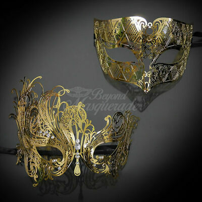 Masquerade Theme (His and Hers Couple Masquerade Metal Mask Gold Theme)